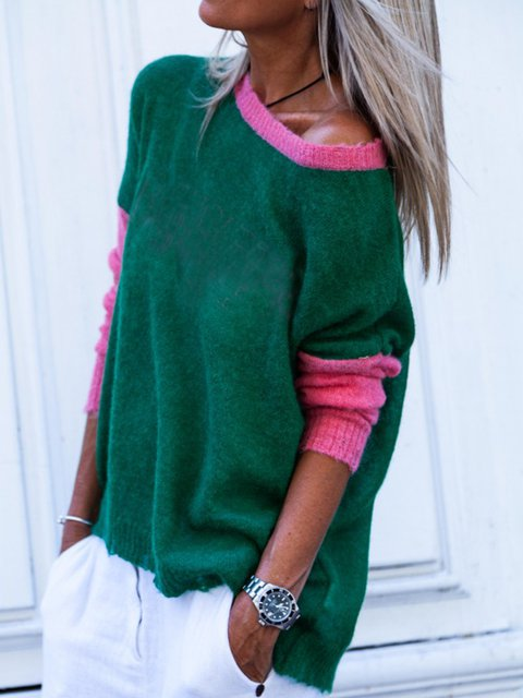 Long Sleeve Knitted Solid Color-Block Sweaters