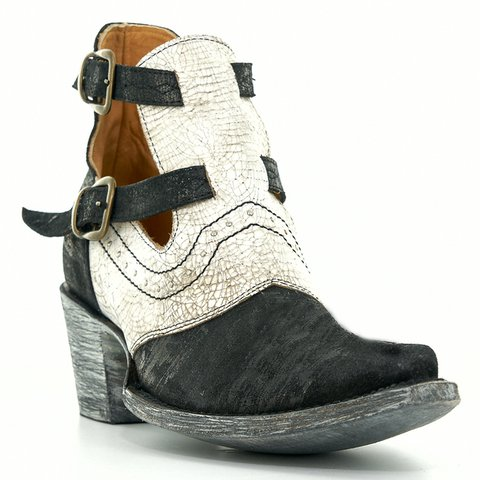 Women's Stylish Buckle Strap Ankle Boots Block Heel Western Cowboy Booties