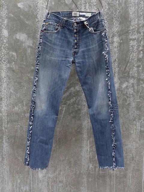Dark Blue Denim Buttoned Casual Pants