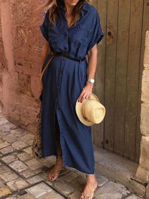 Plus Size Denim Maxi Dresses Summer Solid Pockets Shirt Collar Dresses