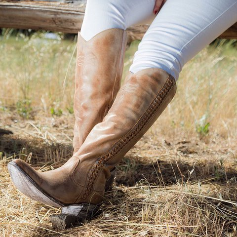 Women Round Toe Vintage Chunky Heel Spring/fall Zipper Pu Knee Boots