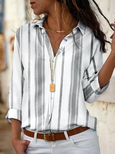 Gray Long Sleeve Shirt Collar Cotton-Blend Shirts & Tops