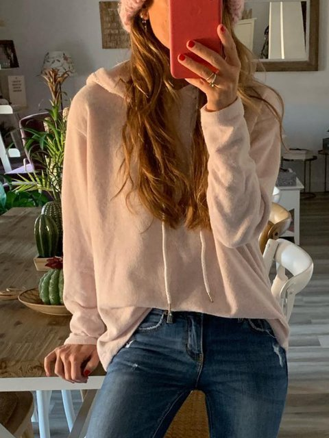 Beige Casual Cotton-Blend Hoodie Shirts & Tops