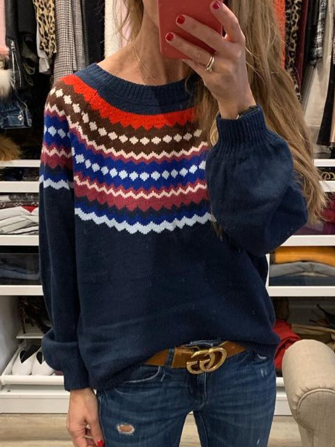 Navy Knitted Printed/dyed Casual Shirts & Tops