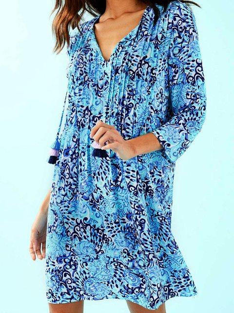 Blue Women Floral Dresses Beach Boho Fringed Dresses