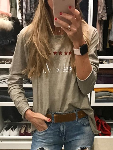 Khaki Printed/dyed Long Sleeve Cotton-Blend Shirts & Tops