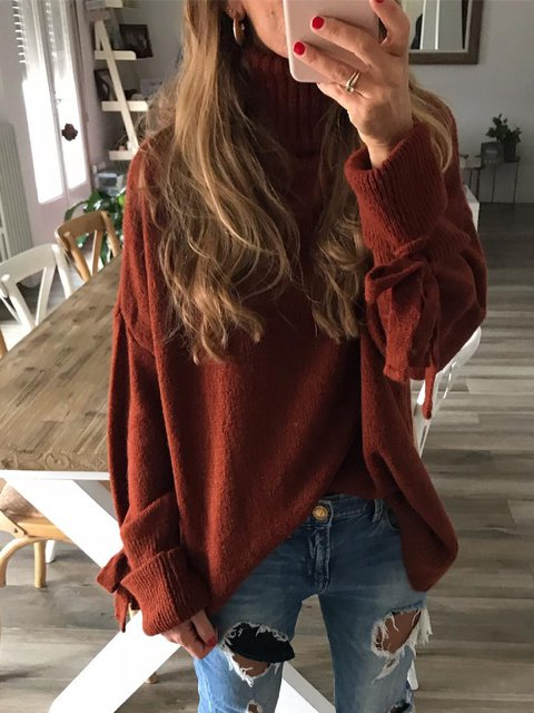 Wine Red Knitted Casual Solid Long Sleeve Shirts & Tops