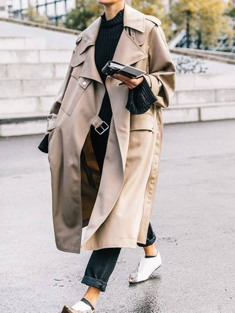 Beige Cotton Solid Long Sleeve Outerwear