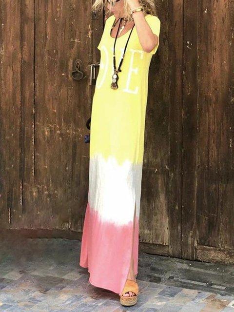 V Neck Yellow Women Casual Dresses Daily Letter Dresses