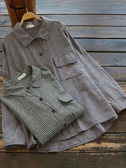 Black Basic Linen Paneled Long Sleeve Shirts & Tops
