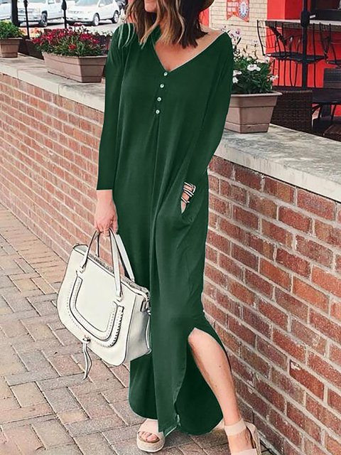 V Neck Women Caftans Shift Daily Casual Slit Dresses