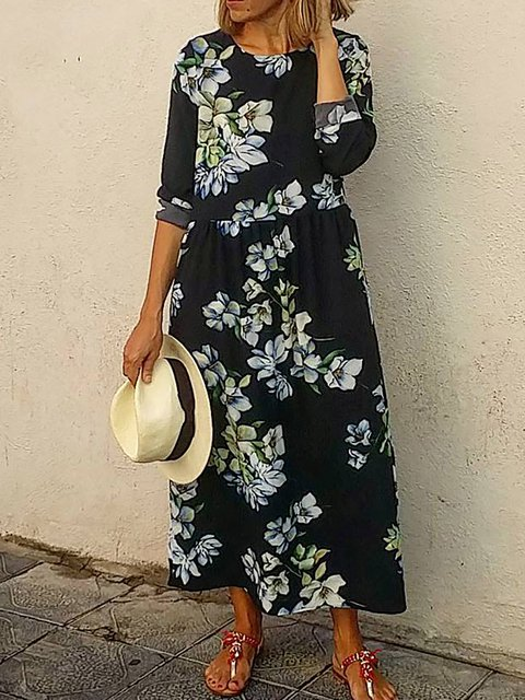 Round Neck Women Caftans Daily Floral Dresses