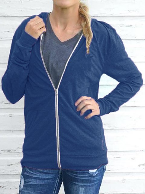 Solid Long Sleeve Cotton Zip Hooded Jacket