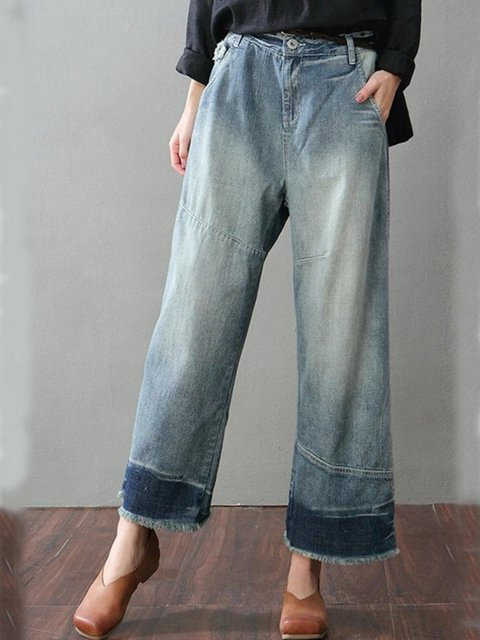 Casual Plain Denim Pants