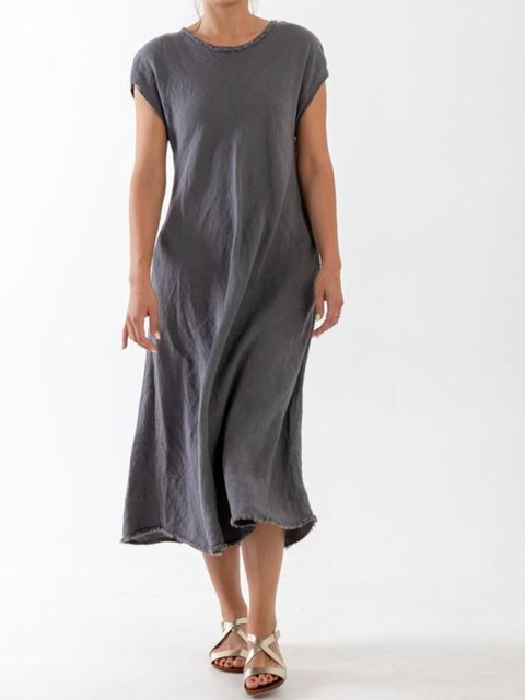 Casual Cotton Solid Dresses