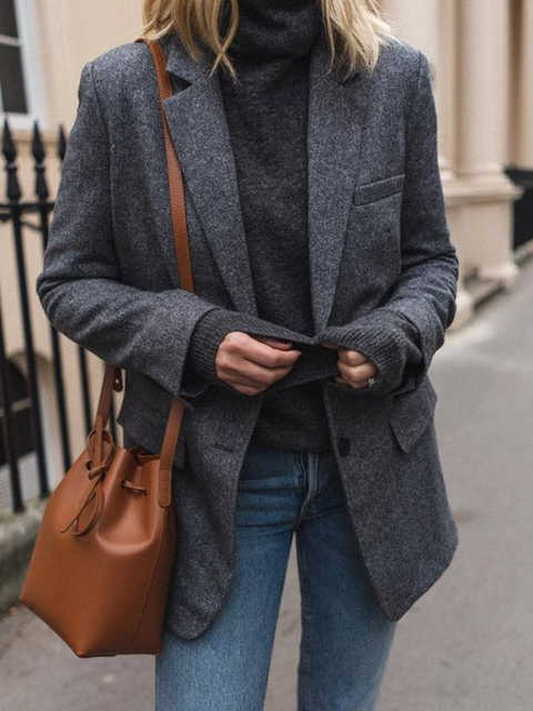 Gray Lapel Solid Long Sleeve Outerwear