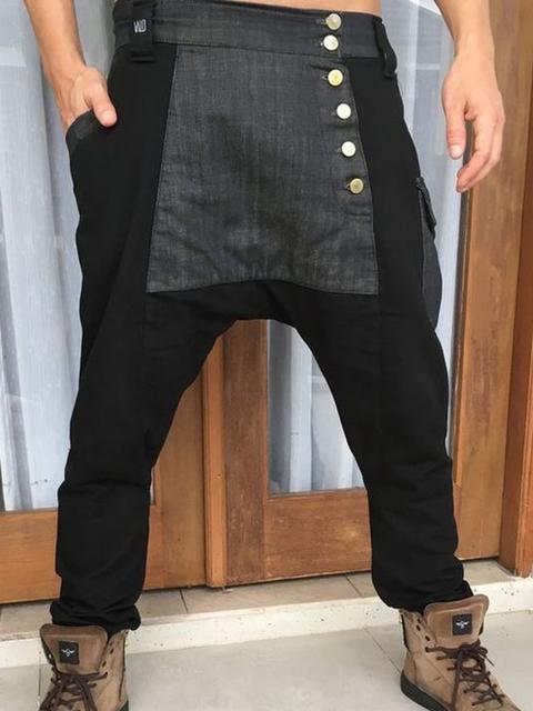 Cotton-blend Buttoned Casual Pants