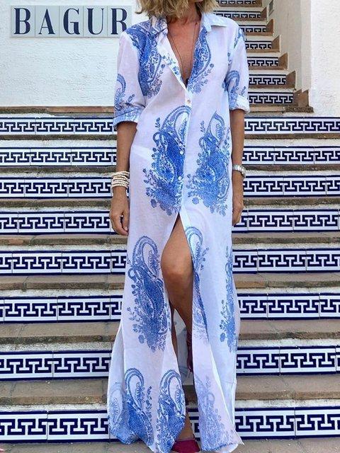 Shirt Collar White-Blue Women Floral Dresses Beach Boho Floral Dresses