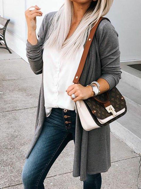 Deep Gray Paneled Solid Long Sleeve Coats