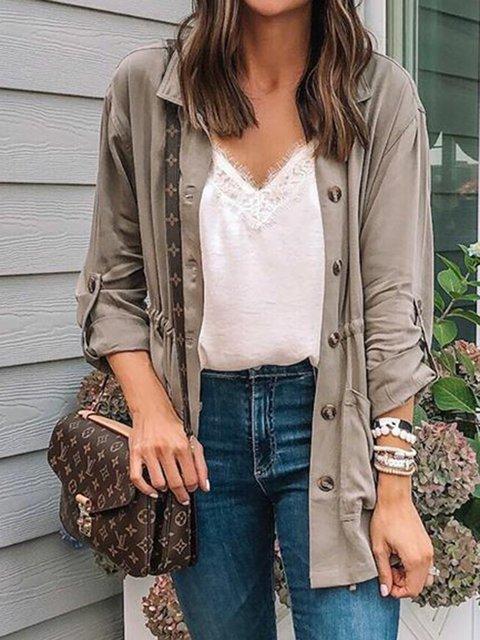Gray Pockets Long Sleeve Solid Cotton Coats