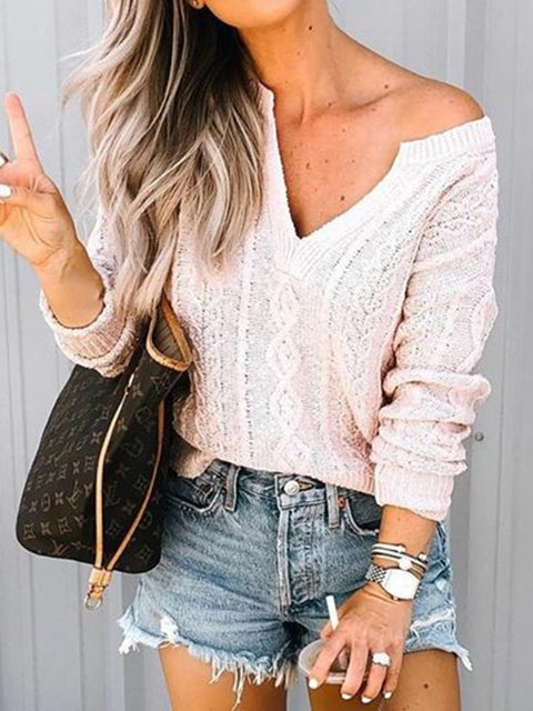 Pink Knitted Knitted Long Sleeve Sweaters