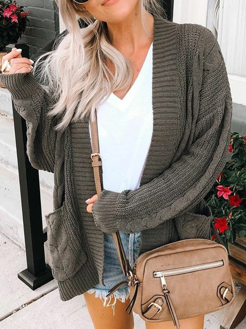 Deep Gray Long Sleeve Knitted Knitted Solid Coats