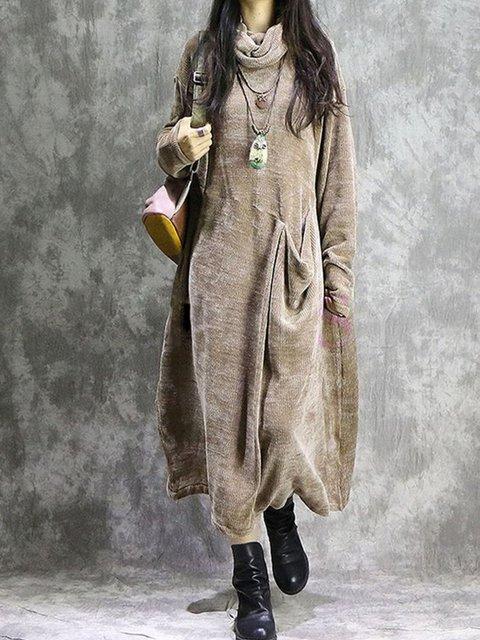 Cowl Neck Vintage Solid Cotton-Blend Dresses