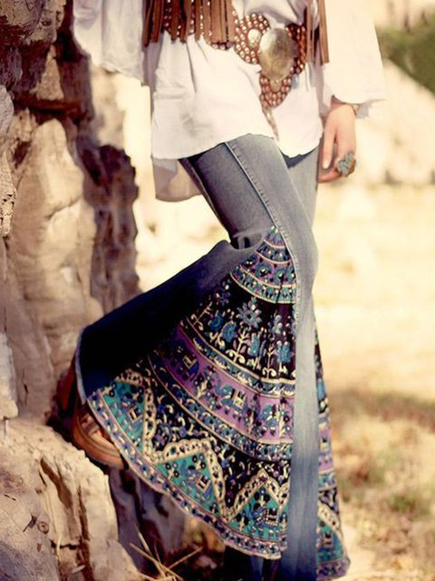 Printed Patchwork Casual Cotton-Blend Pants