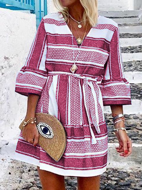 Boho Dresses Date V Neck Holiday 3/4 Sleeve Floral-Print Dresses