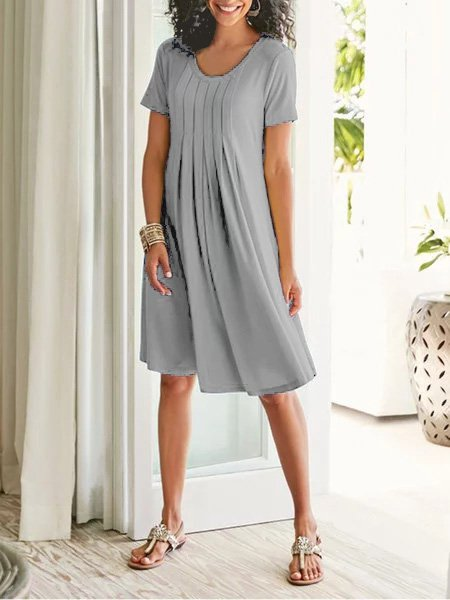 Cotton-Blend Casual Crew Neck Plain Dresses