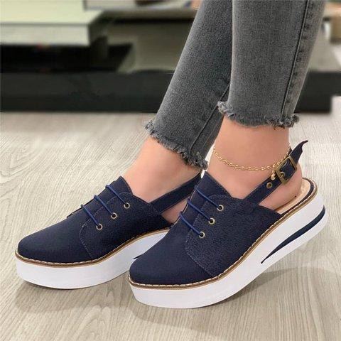 Women Casual Comfy Slingback Platform Sneakers