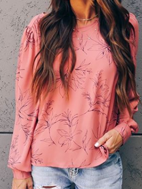 Pink Cotton-Blend Crew Neck Casual Shirts Tops