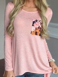 Pink Floral Crew Neck Long Sleeve Blouses