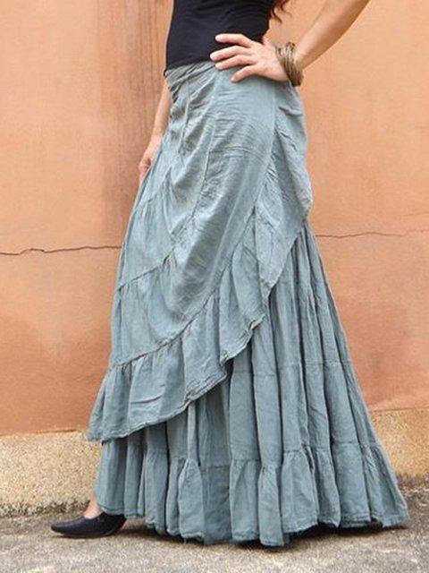 Tiered Boho Cotton Skirts Holiday Ruffled Skirts
