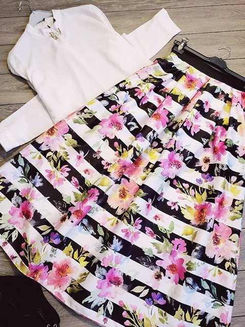 Floral Daytime Casual Shift Halfway skirts
