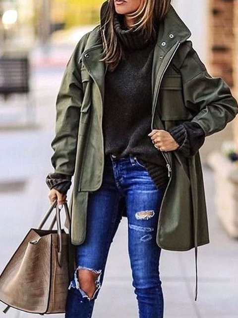 Hooded Pockets Casual Long Sleeve Outerwear
