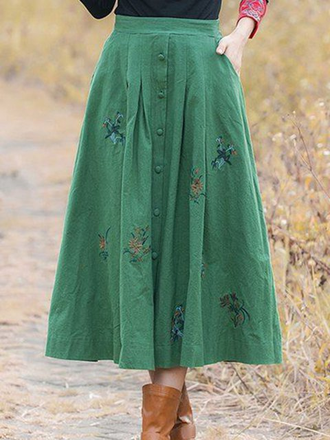 Plus Size Women Pockets Embroidered Casual Swing Skirts