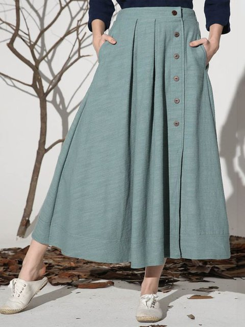 Plus Size Pockets Buttoned Pleated Details Casual Skirts