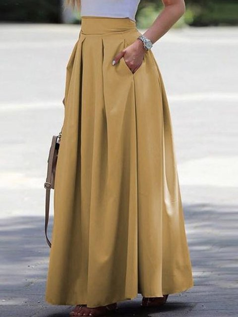 Plus Size Women Pockets Pleated Elegant Solid Skirts