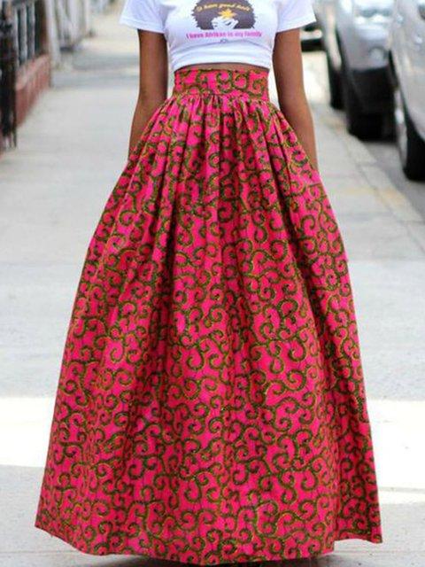 Plus Size Women Printed Swing Skirts