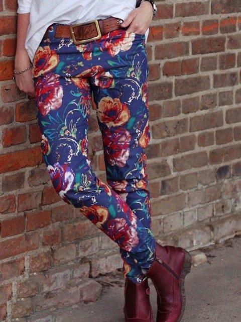 Plus Size Floral Pockets Vintage Printed Pants