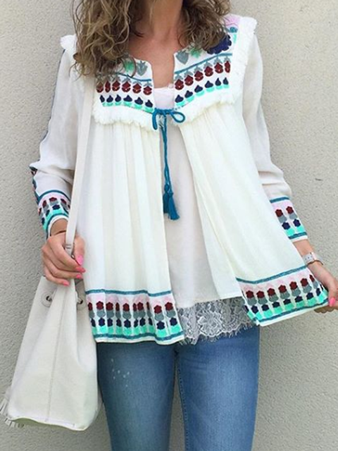 White Long Sleeve Cotton-Blend Square Neck Tribal Shirts Tops