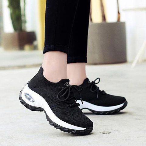 Breathable Elastic Cloth Sneakers Platform Lace-up Sneakers