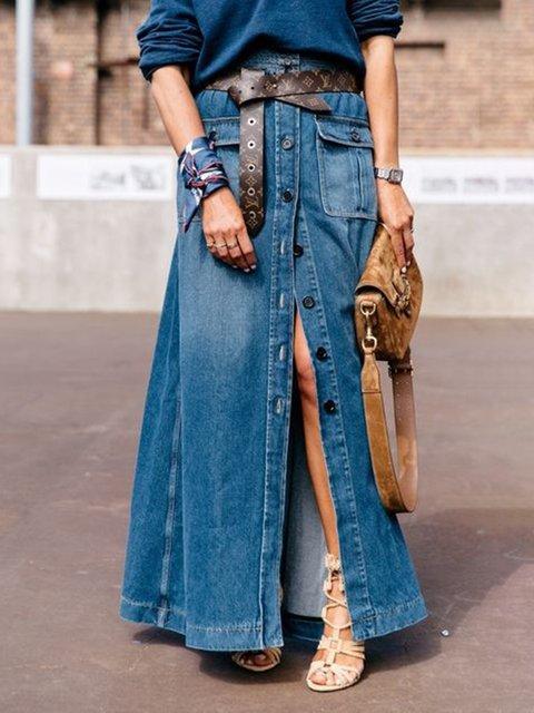 Deep Blue Shift Denim Vintage Solid Skirts