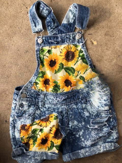 Plus Size Washed Patchwork Women Denim Rompers