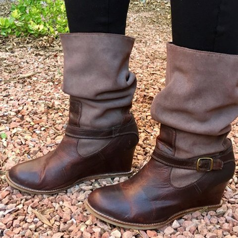Wedge Heel Buckle Strap Round Toe Boots