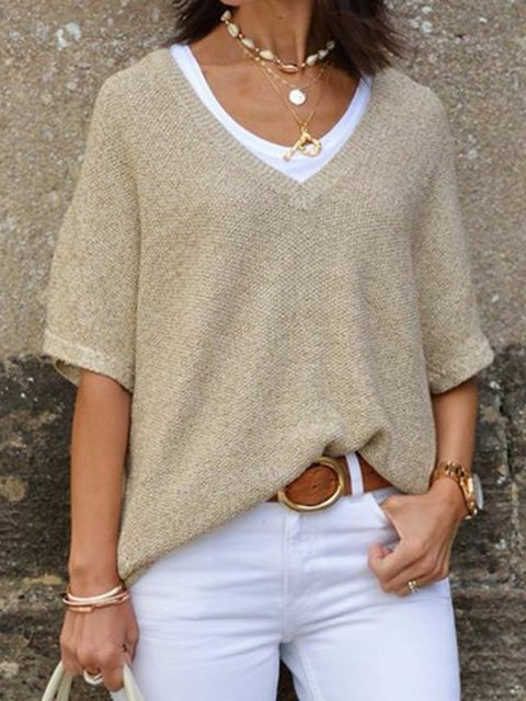 Khaki V Neck Knitted Short Sleeve Solid Sweaters
