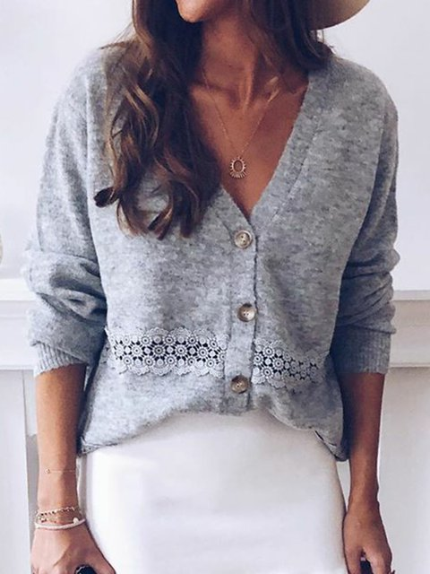 Gray Solid V Neck Polyester Fibre Long Sleeve Sweaters