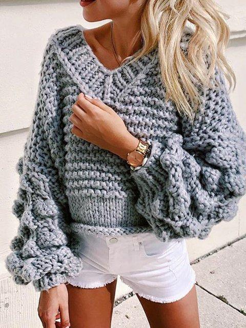 Plain Casual V Neck Long Sleeve Sweater