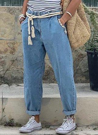 Denim Basic Solid Pants Casual Pockets Pants